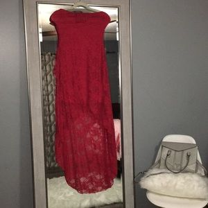 Strapless red lacy dress